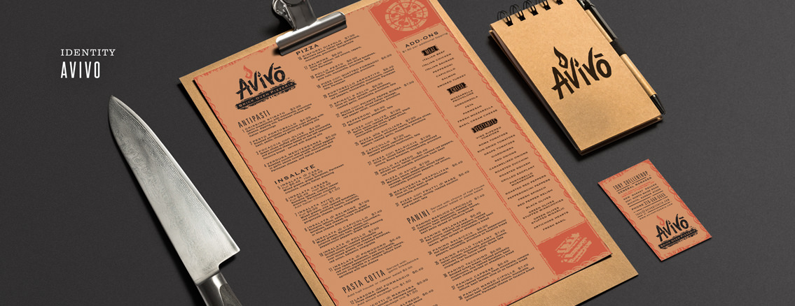 Avivo | Menu and Website Design for Avivo's Pizza.