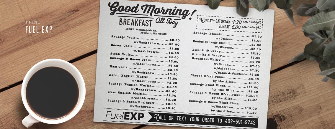 FuelEXP | Menu and Illustrations for Nebraska Restaurant